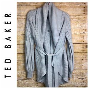 Women's Ted Baker gray waterfall cardigan size 4